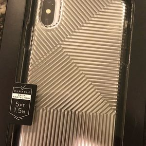 Clear and silver iPhone X phone case